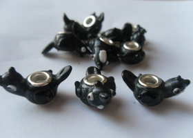 *10 Black Bird Lampwork Glass Euro Beads