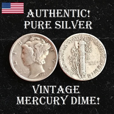 RARE! GENUINE Silver Mercury Dime Coin - USA Seller!!!