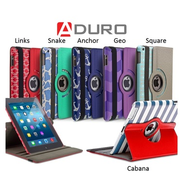 Aduro Rotating-Stand iPad Folio Case for iPad Air, iPad Mini, iPad 2/3/4th Gen