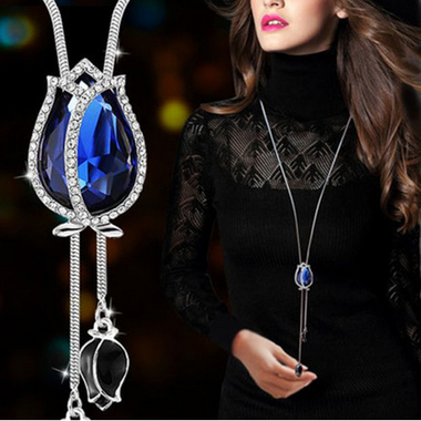 Luxury 18K White Gold Plated Blue Tulip AAAAA Cz Long Necklace for Women