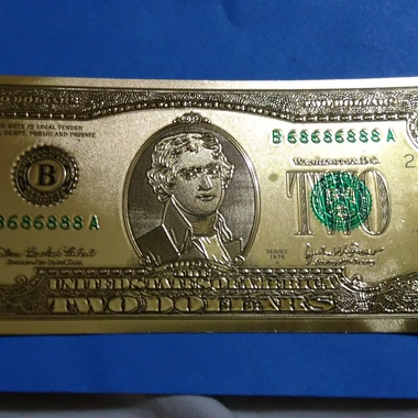 united States two dollar 24 KT. Foil uncirculated Front side