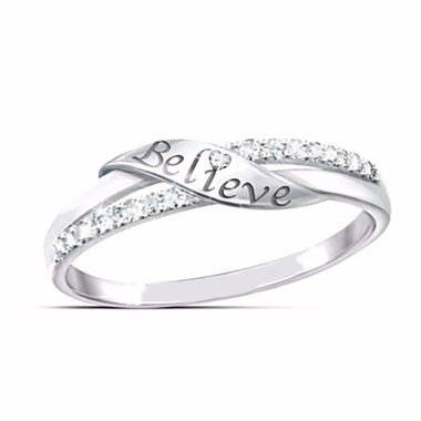 18K White Gold Plated Believe CZ Ring