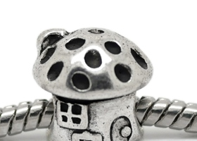 19~~Mushroom House Euro Spacer Beads