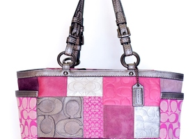COACH Pink Holiday Patchwork Gallery Tote #12864