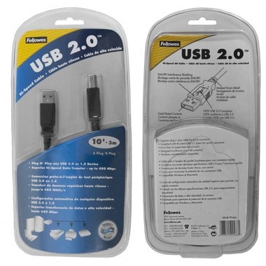 Fellowes 99466 10' USB 2.0 A to B Cable (Black) - RETAIL BOX