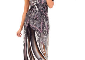 Printed Long Maxi Dress with Necklace neck tie
