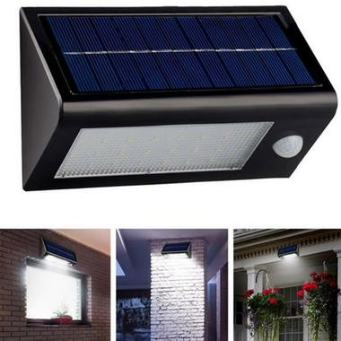 LED Solar Powered PIR Motion Sensor Light Outdoor Garden Fence Patio Security Wa