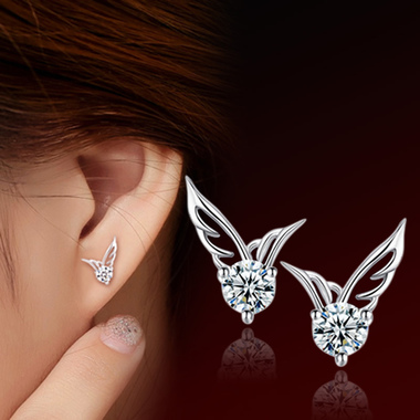 Silver Color Wing Stud Earring for Women Fine Jewelry Summer Style Wholesale