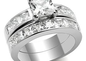 Stainless 2 Carat CZ Wedding Set, 5-11