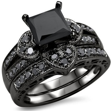 Love Heart Blcak Gold Color Ring Sets AAA Square Black Cubic Zirconia Luxury Jew