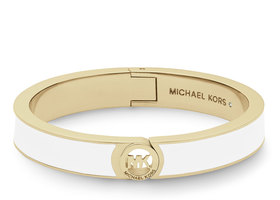 NWT MICHAEL KORS Fulton Hinge Bangle, White/Golden