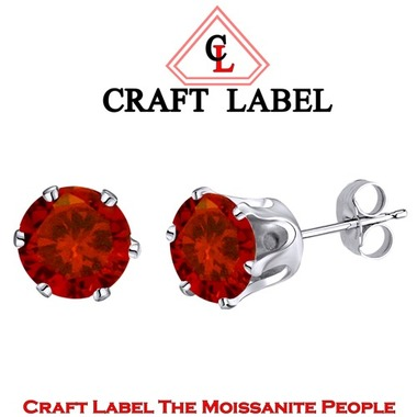 4.25 Ct Garnet Round Brilliant Cut 14K Gold 6 Prong Stud Earrings 7mm