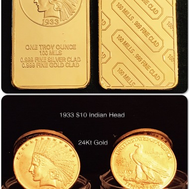 24Kt Gold *1933* $10 Gold Indian Eagle Bar & Coin (24Kt Gold Clad)