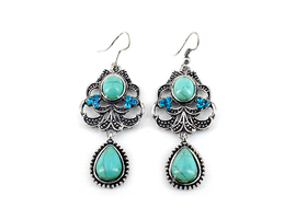 Charming & Lavish Turquoise Dangle Earrings #14-25