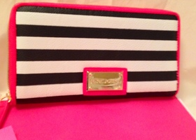 NWT Betsey Johnson Candy Stripe Zip Around Wallet