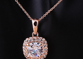 18K Rose Gold Plated Princess Cut Austrian Necklace