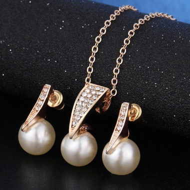 18K Yellow Gold Plated Luxury Simulated Pearl Set