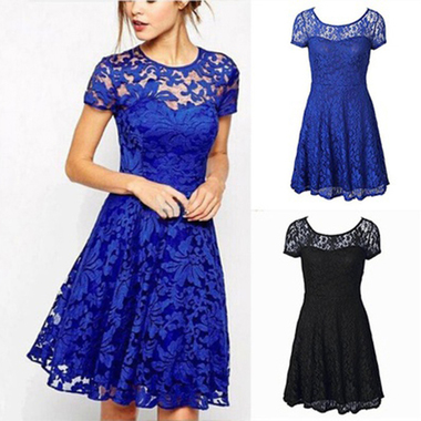 Women Round Neck Short Sleeve Pleated Floral Lace Slim Dress