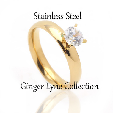 4mm Wide Gold over Stainless Steel Engagement Wedding Ring - Ginger Lyne Collect