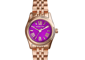 MK Petite Lexington Rose Gold, Purple Dial