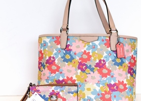 COACH NEW Floral Mini Handbag & Wristlet Set #51596