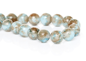 80+ 10mm Light Turquoise and Tan Glass Beads