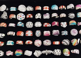10 pcs crystal Ring Clearance Sale  size 6 to 9