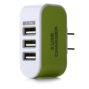 Universal 3.1A 3 Port Charging Adapter Travel Wall Home Charger With LED Light -
