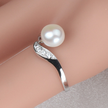 925 Sterling Silver  Ajustable Ring, Freshwater Cultured Pearl Rings For Bridesm