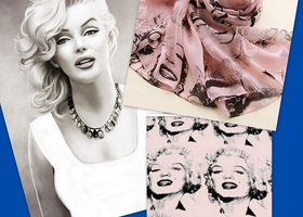 STJ102  Marilyn Monroe Fashion Scarf  Pink