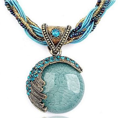 Fashion Lucky Divination Stone Pendant Necklace Round Reiki Ball Crystal Women N