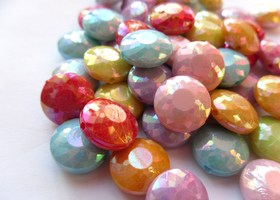 *100+ Mixed Color AB Flat Round Faceted Beads