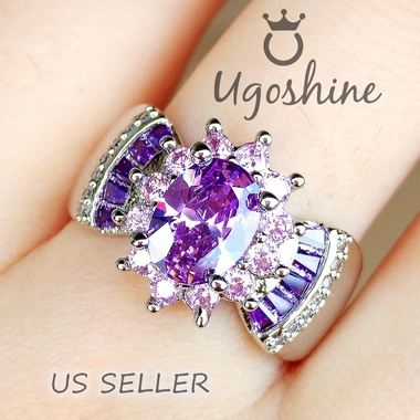 'Violet Princess'  Amethyst and Pink Topaz Ring