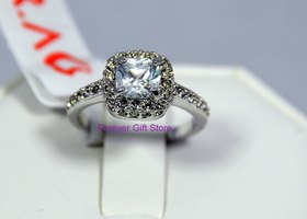 SIZE 7,8,9 18K WGP Princess Cut Ring