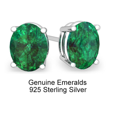 Stunning 2.00 CTTW .925 Sterling Silver Genuine Emerald Stud Earings