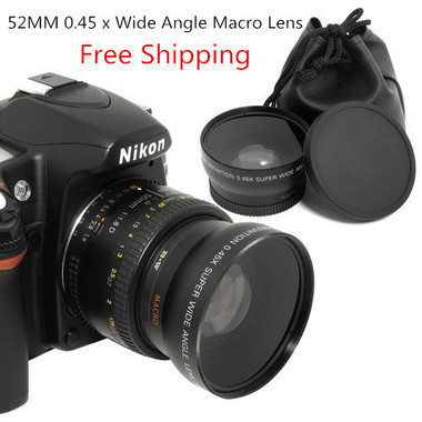 Free Shipping 52MM 0.45 x Wide Angle Macro Lens