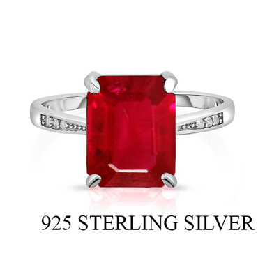 Amazing Unique .925 Sterling Silver Ring W/Lab Created Solitaire Emerald Cut Rub