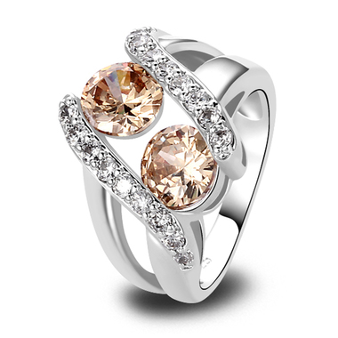 Unique Silver Plated Morganite Champagne Cubic Zirconia Ring