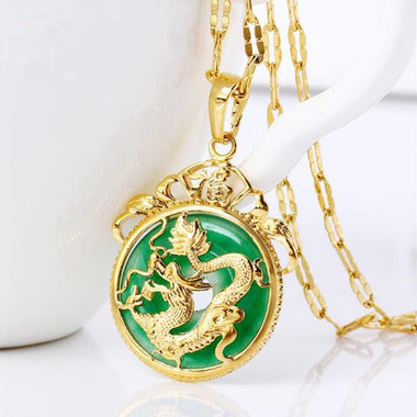 24K gold filled green chalcedony pendant necklace