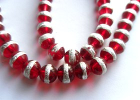 *1 Strand 32 inches Red with Silver Stripe 8mm Beads