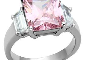 Pink and White CZ SS Ring, Sizes 5-10