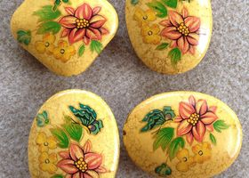 Yellow Folk-Art Style Wooden Beads with Flowers & Butt