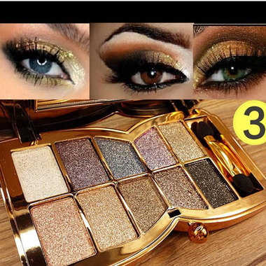 Free Shipping!! Professional Eye Makeup 10 Colors #5 Eyeshadow Palette Gold Smok