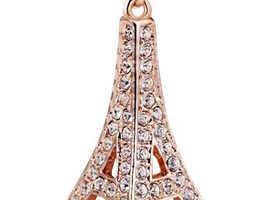 18K RGP Effile Tower Necklace with Austrian Crystal