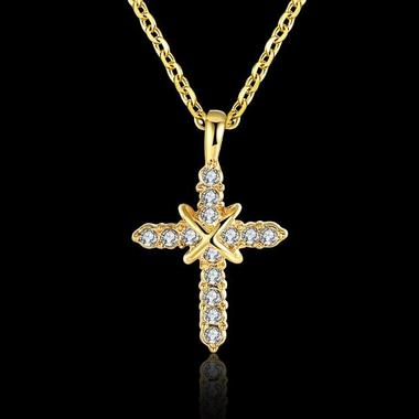 Estate Modernist Manual Mosaic AAA Zircon Cross Pendant Necklace In 24K Yellow G