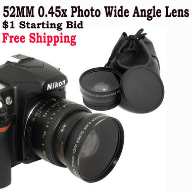 Free Shipping!! 52MM-LENS 0.45x Photo HD Wide Angle Lens