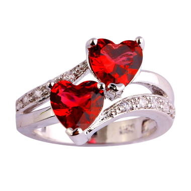 Merthus Fashion Women 18K White Gold Plated Rings With Created Red Gemstone