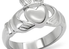 Stainless Steel Irish Claddagh Ring, Sizes 5-10