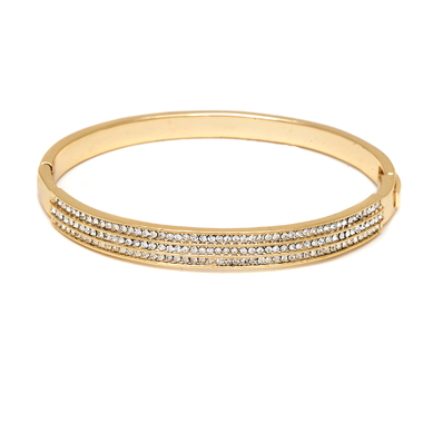 Gold & Sparkle Triple Row Bangle