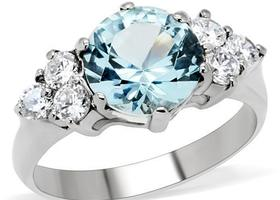 Aqua CZ Stainless Steel Ring, Sizes 5-10